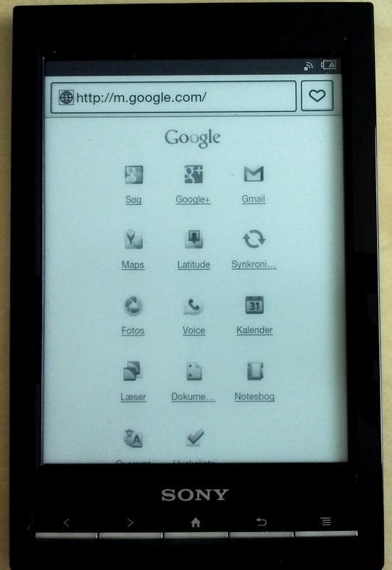 Sony e-bogslæser - browser