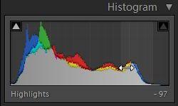 Histogram med justering af Highlights.