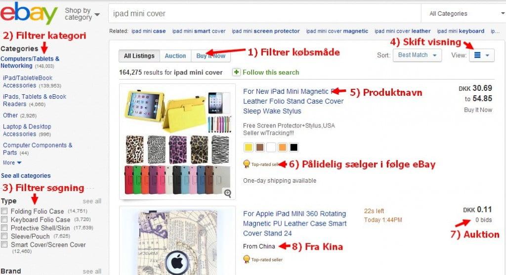 Søgning på eBay. Se kommentarerne nedenfor. Klik for større visning.