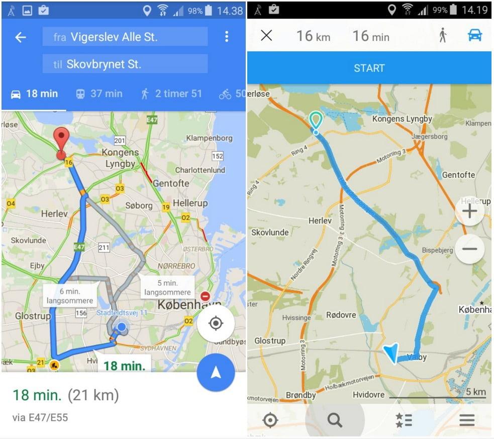 Fra Vigerslev Sation til Skovbrynet Station i bil: Google Maps (til venstre) foreslår Motorvejen, mens Maps.me (til højre) vælger den korteste vej gennem byen.I følge min erfaring Google Maps mest korrekt.