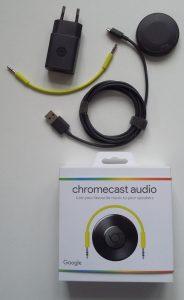 Chromecast Audio-æsken med indhold.