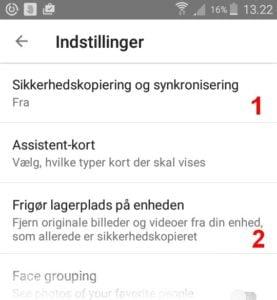 Indstillinger i Android-app'en.