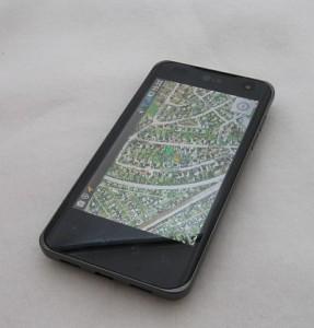 Smartphone med en app til geotagging