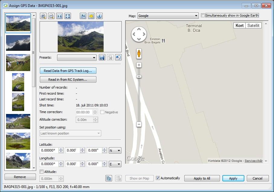 Assign GPS data menuen
