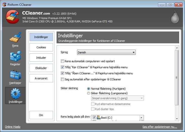 CCleaner - indstillinger