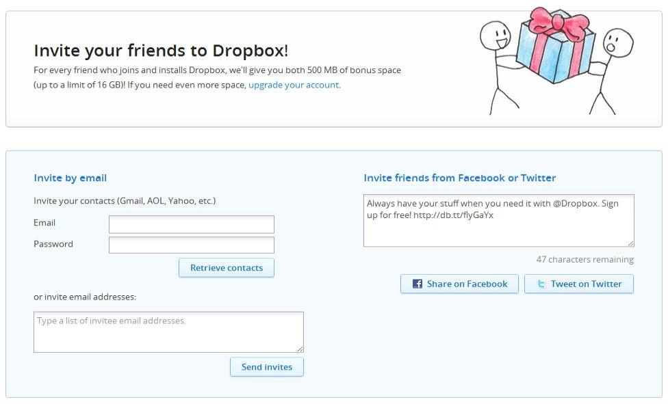 Dropbox gratisk plads 2