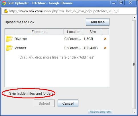 Bulk oplad i gang. Huske at fjerne fluebenet, hvis du vil uploade undermapper.