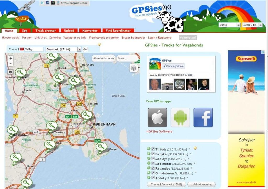 Forsiden på GPSies. Klik for at forstørre.