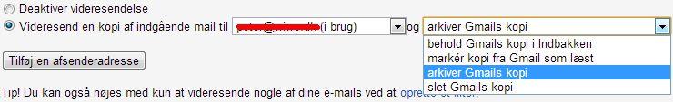 Her vælger du, hvad der skal ske med Gmails kopi.