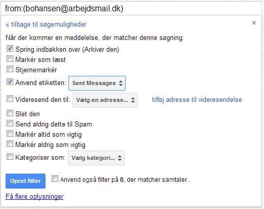 Oprettelse af filter i Gmail.