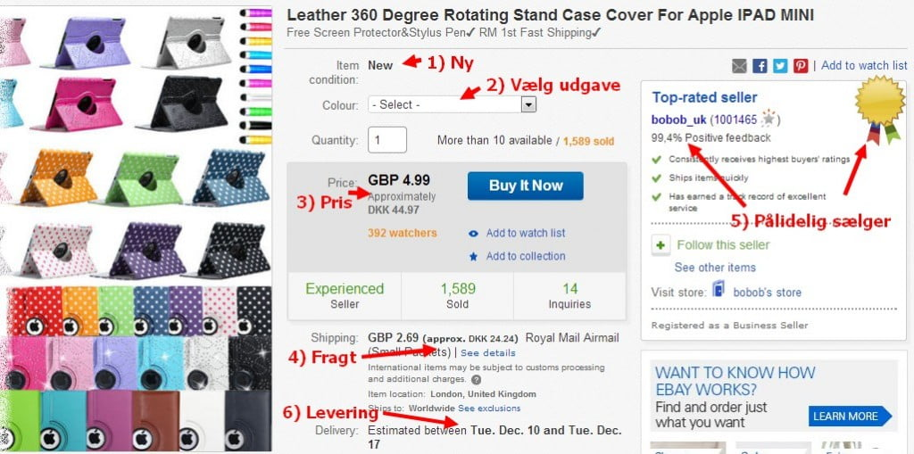 Produkt på eBay. Se kommentarerne nedenfor. Klik for større visning.