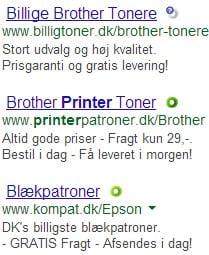 Der af masser af annoncer for printerpatroner på Google.