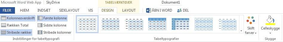 Tabeldesign.