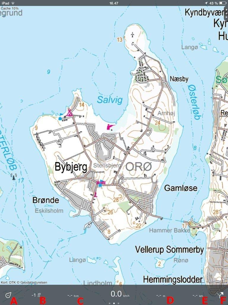 Brugerfladen i Topo GPS Danmark. Her på iPad Mini. Klik for større visning.