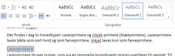 """Overskriften """"Laserprintere"""" sat til """"Overskrift 2"""" med et enkelt klik i Word Web App."""
