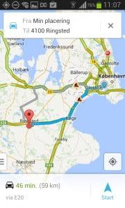 Googles navigation viser vejarbejder.