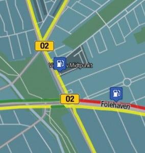 Trafikken ved Folehavekrydset fredag eftermiddag.