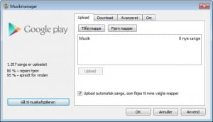 Google Musikmanager uploader sange.