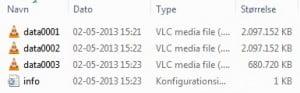 PVR-filerne ligger i bidder af knap en time.