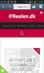 eReolen.dk på en Smartphone.