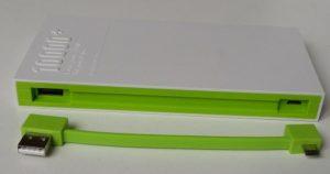 Her ses USB til venstre og mini-usb til højre.