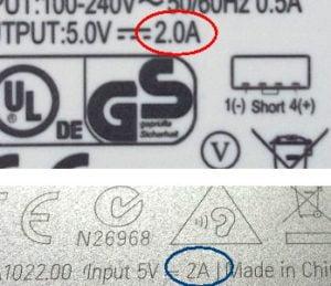 Ampere på strømforsyning (rød cirkel), og ampere på tablet (blå cirkel).